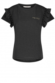Aaiko |  T-shirt with ruffles Sally | black  | Picture 1
