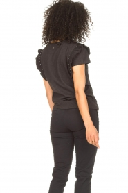 Aaiko |  T-shirt with ruffles Sally | black  | Picture 7
