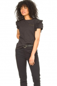Aaiko |  T-shirt with ruffles Sally | black  | Picture 5