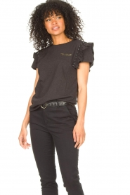 Aaiko |  T-shirt with ruffles Sally | black  | Picture 4