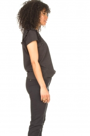 Aaiko |  T-shirt with ruffles Sally | black  | Picture 6