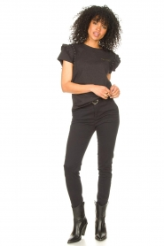 Aaiko |  T-shirt with ruffles Sally | black  | Picture 3