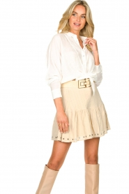 Aaiko |  Blouse with tie detail Vanissa | white  | Picture 4