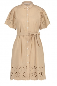Aaiko |  Cotton broderie dress Caima | beige  | Picture 1