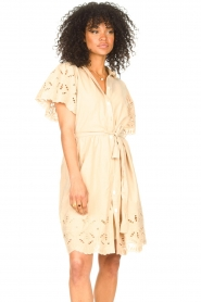 Aaiko |  Cotton broderie dress Caima | beige  | Picture 4