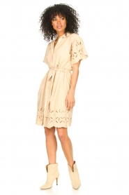 Aaiko |  Cotton broderie dress Caima | beige  | Picture 3
