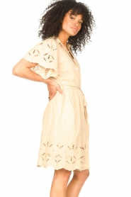 Aaiko |  Cotton broderie dress Caima | beige  | Picture 5
