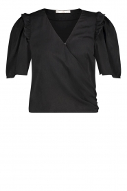 Aaiko |  Top with short puff sleeves Sami | black  | Picture 1