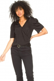 Aaiko |  Top with short puff sleeves Sami | black  | Picture 4