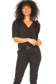 Aaiko |  Top with short puff sleeves Sami | black  | Picture 2