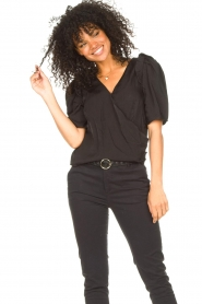 Aaiko |  Top with short puff sleeves Sami | black  | Picture 5
