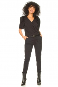 Aaiko |  Top with short puff sleeves Sami | black  | Picture 3
