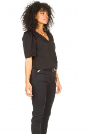 Aaiko |  Top with short puff sleeves Sami | black  | Picture 6
