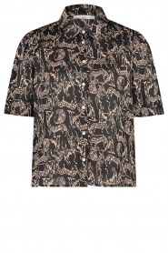 Aaiko |  Blouse with print Tirea | black  | Picture 1