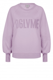 Dante 6 |  Cotton sweater with text print Love Me | lilac  | Picture 1