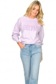 Dante 6 |  Cotton sweater with text print Love Me | lilac  | Picture 5