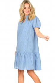 Second Female    Cotton broderie dress with puff sleeves Bilbao   blue    Picture 4