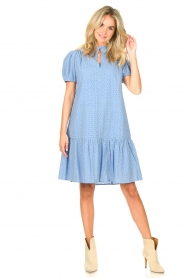 Second Female    Cotton broderie dress with puff sleeves Bilbao   blue    Picture 3
