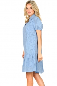 Second Female    Cotton broderie dress with puff sleeves Bilbao   blue    Picture 5