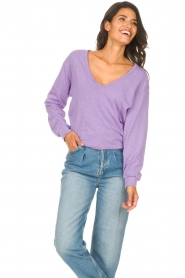American Vintage |  Lined T-shirt Sonoma | purple  | Picture 3