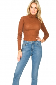 American Vintage |  Cotton top with turtle neck Massachusetts | brown  | Picture 3