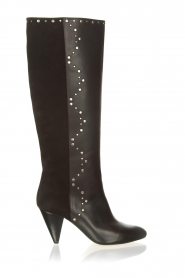 Aaiko |  Knee boots with studs Prague | black  | Picture 1