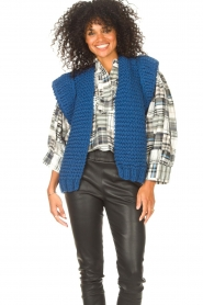 Kiro by Kim |  Knitted waistcoast Leanne | blue  | Picture 2