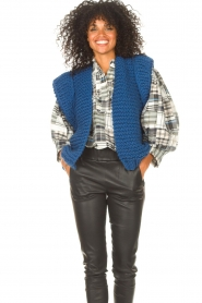 Kiro by Kim |  Knitted waistcoast Leanne | blue  | Picture 4