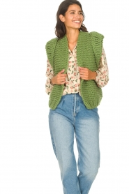 Kiro by Kim |  Knitted waistcoast Leanne | green  | Picture 2