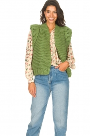 Kiro by Kim |  Knitted waistcoast Leanne | green  | Picture 4
