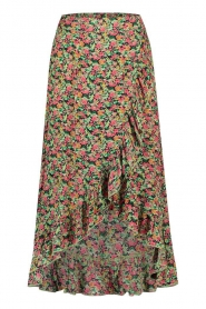 Freebird |  Maxi skirt with floral print Alina | green   | Picture 1