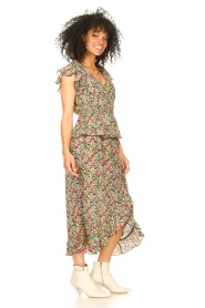 Freebird |  Maxi skirt with floral print Alina | green   | Picture 4