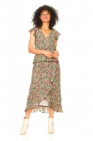Freebird |  Maxi skirt with floral print Alina | green   | Picture 3
