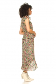 Freebird |  Maxi skirt with floral print Alina | green   | Picture 5