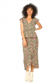 Freebird |  Maxi skirt with floral print Alina | green   | Picture 2