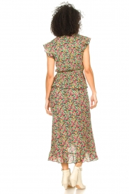 Freebird |  Maxi skirt with floral print Alina | green   | Picture 6