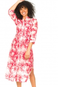 Freebird |  Midi dress with print Victoria | pink  | Picture 2