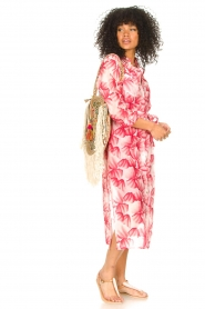 Freebird |  Midi dress with print Victoria | pink  | Picture 3