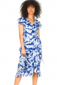 Freebird |  Midi dress with print Rosy | blue  | Picture 2