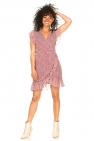 Freebird |  Wrapped dress with print Rosy | red  | Picture 3
