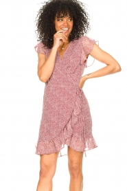 Freebird |  Wrapped dress with print Rosy | red  | Picture 2
