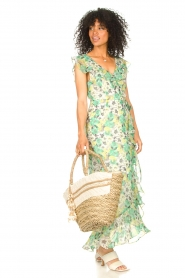 Freebird |  Maxi dress with floral print Olga | green  | Picture 2