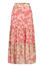 Freebird |  Maxi skirt with print Marije | pink  | Picture 1