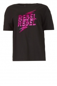 Silvian Heach |  T-shirt with sequins Tandar | black  | Picture 1
