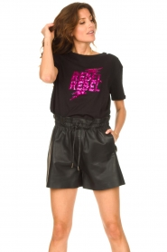 Silvian Heach |  T-shirt with sequins Tandar | black  | Picture 5