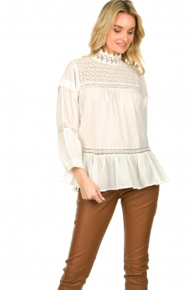 Rabens Saloner |  Lace blouse Cia | white