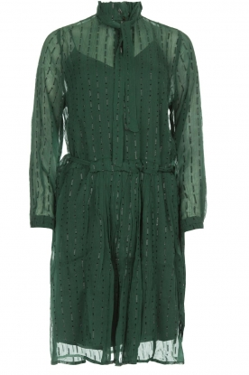 Munthe |  Dress with glitter stripes Net | green