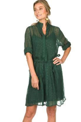 Munthe | Jurk met glitterstreepjes Net | groen