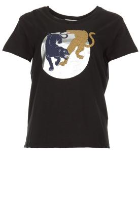 Munthe | T-shirt met opdruk Nostalgic | zwart