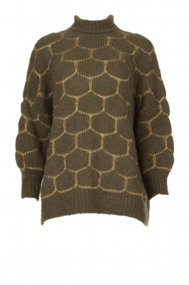 Rabens Saloner |  Oversized turtleneck sweater Cora | green